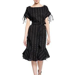 Moon River Striped Lace-Up Ruffle-Hem Dress Black